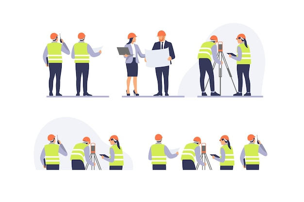 Équipe d'ingénieurs avec équipement sur le chantier illustration vectorielle