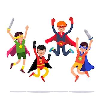 Équipe de jeunes garçons de super-héros