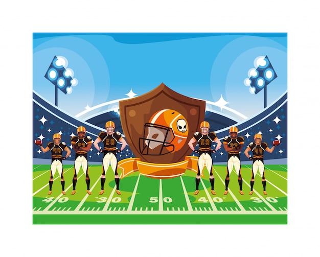 Équipe de joueurs de football américain dans le stade