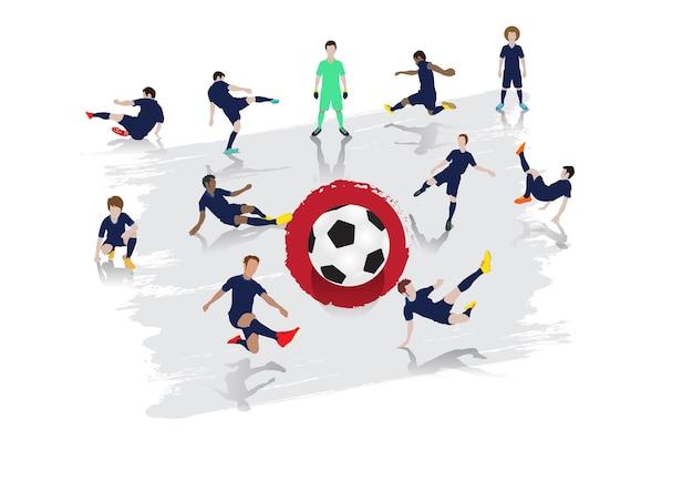 Équipe de joueurs de football vector avec fond de drapeau du japon