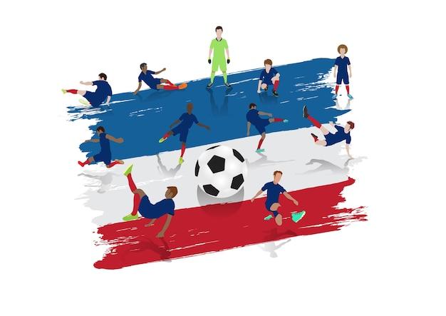 Équipe de joueurs de football vector avec fond de drapeau de la france