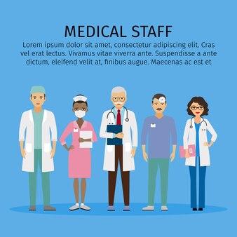Équipe de médecins debout ensemble. modèle de texte