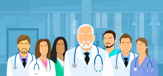 Équipe de médecins de groupe médical hôpital flat