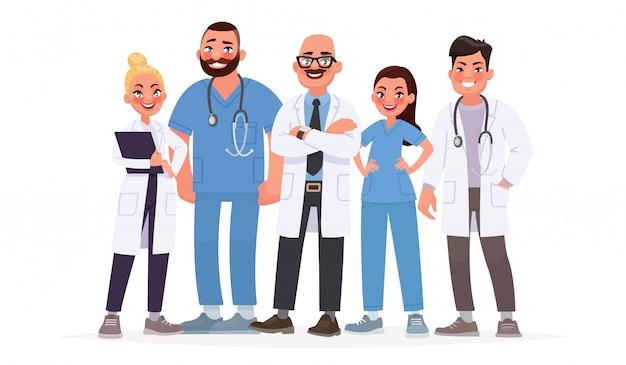 Équipe de médecins. un groupe de travailleurs hospitaliers. le personnel médical