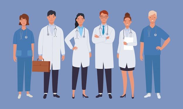 Équipe de médecins. médecin et infirmière du personnel médical, groupe de médecins. illustration dans un style plat