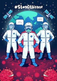 Équipe médicale pour corona virus premium vector