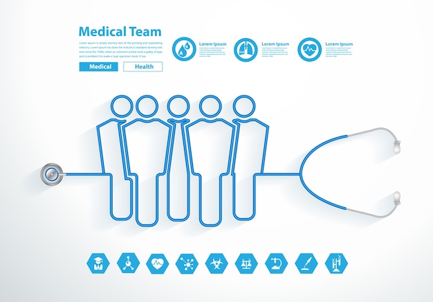 Équipe médicale de stéthoscope vector