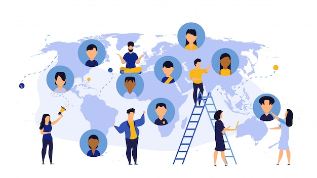 Équipe mondiale de conseil en technologie mondiale de la carte du monde des affaires.