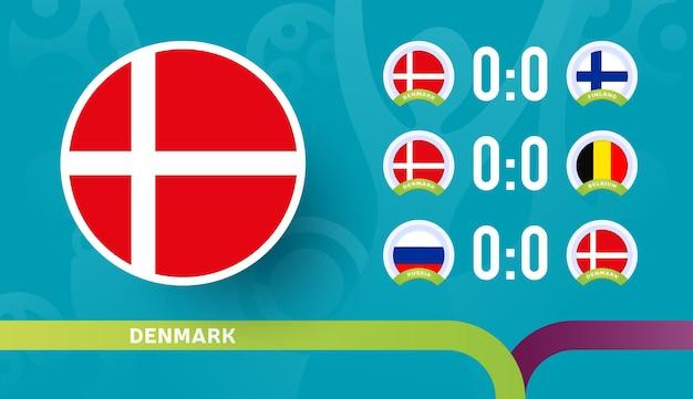 Équipe nationale du danemark programmer les matchs de la phase finale du championnat de football 2020