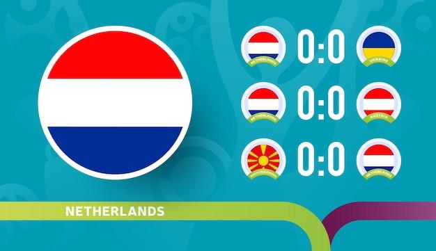 L'équipe nationale des pays-bas programme les matchs de la phase finale du championnat de football 2020