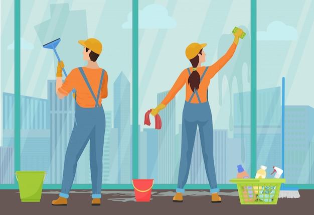 Équipe de nettoyage concierges nettoyage des vitres