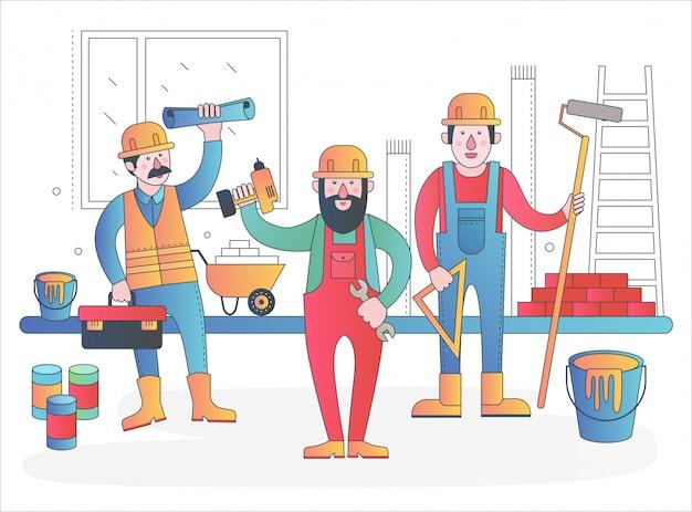 Équipe de personnages de travailleurs à domicile. travailleurs amicaux en uniforme de travail debout ensemble. illustration de ligne de dégradé plat moderne.