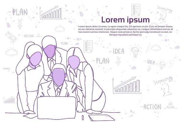 Équipe de personnes d'affaires à la recherche à la discussion d'ordinateur portable ou réunion de brainstorming. modèle de texte