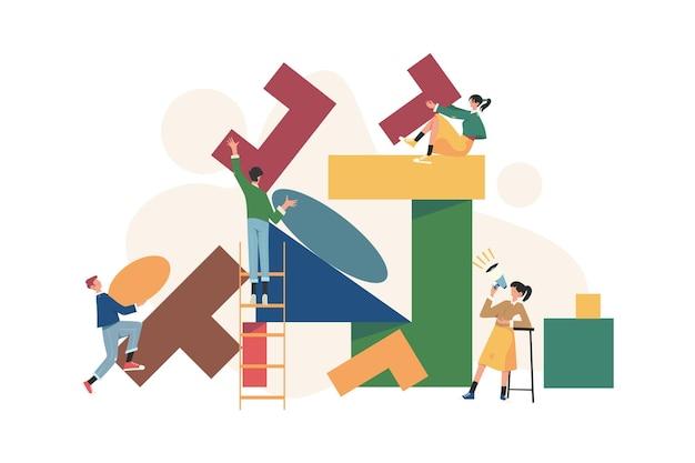 Équipe de personnes assemblent un puzzle géométrique abstrait