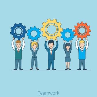 L'équipe de personnes plat linéaire tient les roues dentées dans les mains concept de travail d'équipe d'hommes d'affaires et de femme d'affaires.