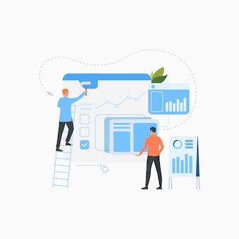Équipe professionnelle créant l'icône plate de solution d'affaires
