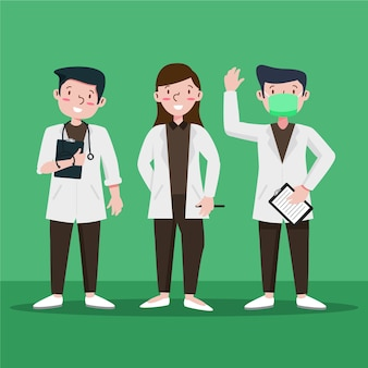 Équipe de professionnels de la santé illustrée