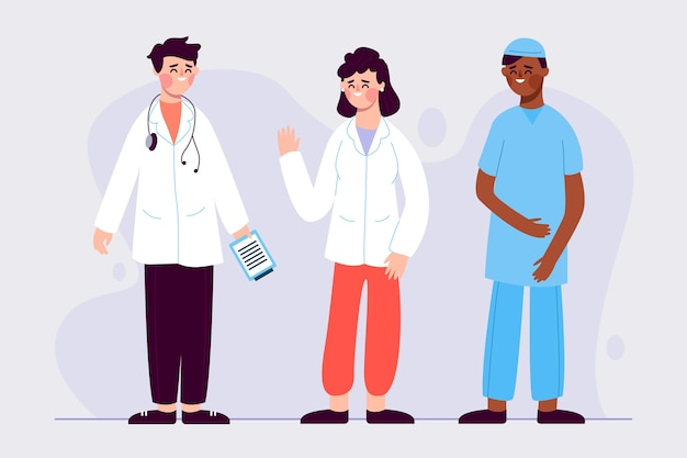 Équipe de professionnels de la santé avec médecin et infirmière