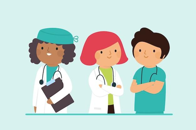 Équipe de professionnels de la santé de style dessin animé