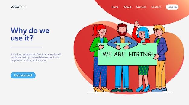 Équipe à la recherche d'un modèle de page de destination pour les professionnels