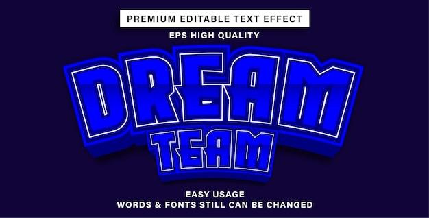 Équipe de rêve à effet de texte modifiable