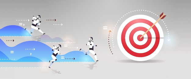 Équipe de robots modernes courir pour cibler objectif concurrence intelligence artificielle technologie concept plat horizontal