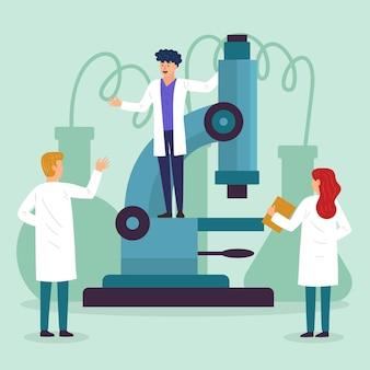 Équipe scientifique travaillant avec microscope