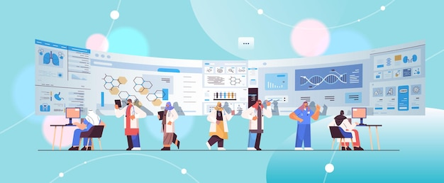Équipe de scientifiques arabes analysant les données médicales sur le concept de soins de santé en médecine virtuelle