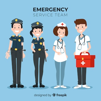 équipe de service d'urgence plat