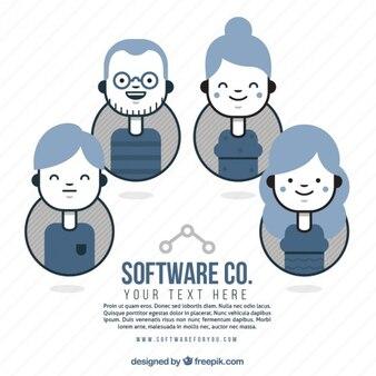 Équipe de la société de logiciels