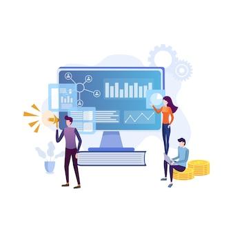 Équipe de spécialistes travaillant sur la stratégie de marketing numérique