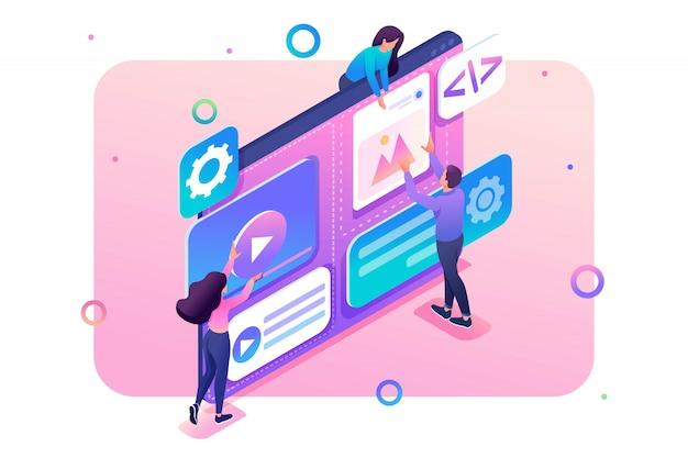 Une équipe de spécialistes travaille sur la création de webdesign. concept de travail d'équipe.