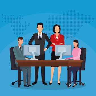 Équipe de travail de bureau d'ordinateur de gens d'affaires