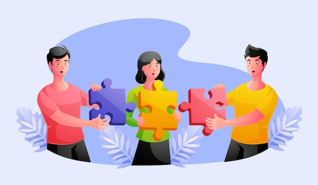 Équipe de travail joignant des pièces de puzzle