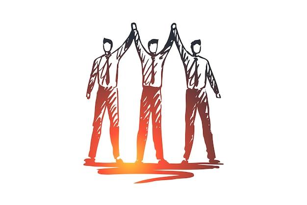 Équipe, travail, personnes, groupe, concept de partenariat. les partenaires commerciaux dessinés à la main travaillent ensemble croquis de concept.