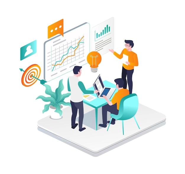 L'équipe de travail recueille des idées pour développer l'entreprise
