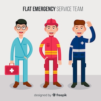 Équipe d'urgence en design plat