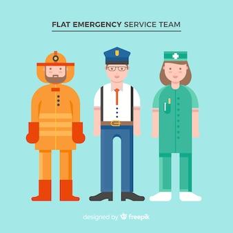 Équipe d'urgence à plat