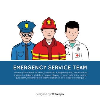 Équipe d'urgence professionnelle dessinée à la main