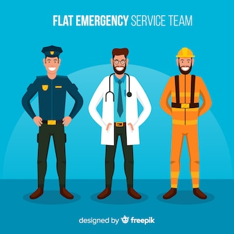 Équipe d'urgence en style plat