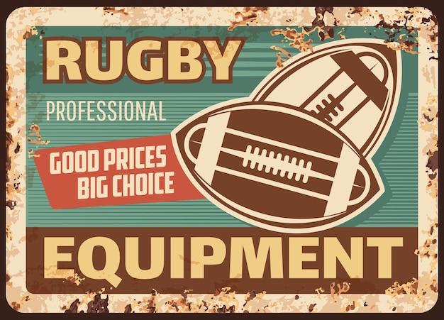 Équipement de balles de rugby plaque de métal rouillé