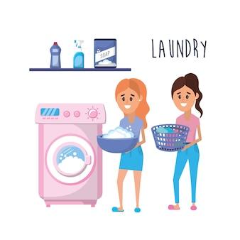 équipement de blanchisserie et femmes effectuant un travail domestique