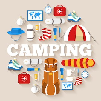 Équipement de camping mis modèle d'infographie de cercle. icônes pour votre produit ou vos applications mobiles.