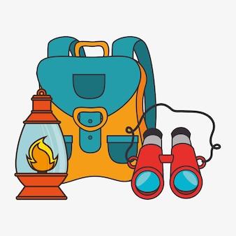Équipement de camping set d'icônes vector illustration design