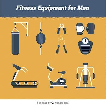 Équipement de conditionnement physique pour l'homme dans un style plat