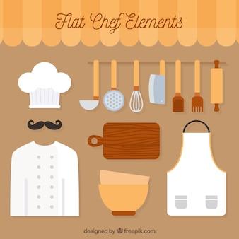 Équipement de cuisine en conception plate