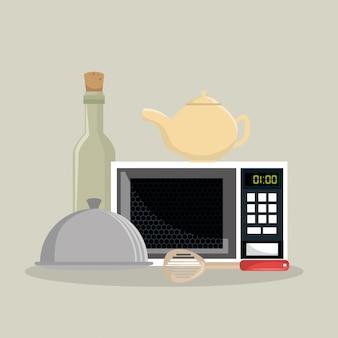 Équipement de cuisine mis des icônes
