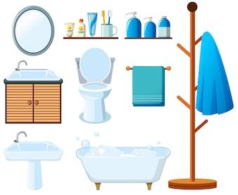Équipement de salle de bains sur fond blanc
