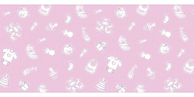 Équipement de douche de bébé mignon doodles fond