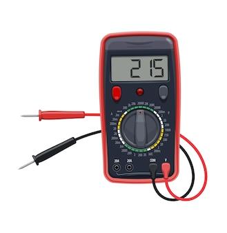 Équipement électrique multimètre de dessin animé, test vectoriel de tension, résistance et courant. multi-testeur numérique, voltmètre, ampèremètre, instrument de mesure d'ohmmètre, outil de travail d'électricien ou d'ingénieur
